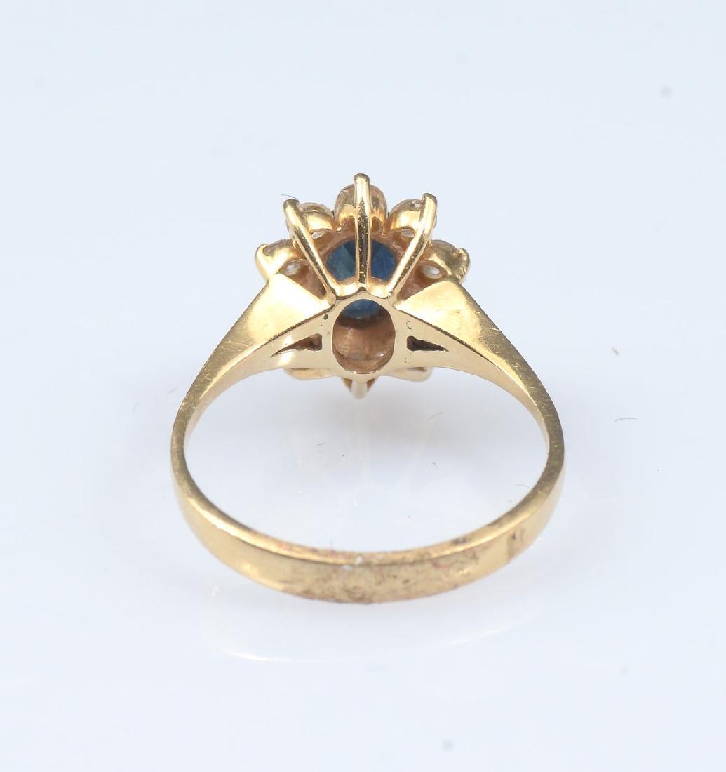 14K SAPPHIRE & DIAMOND RING - 3