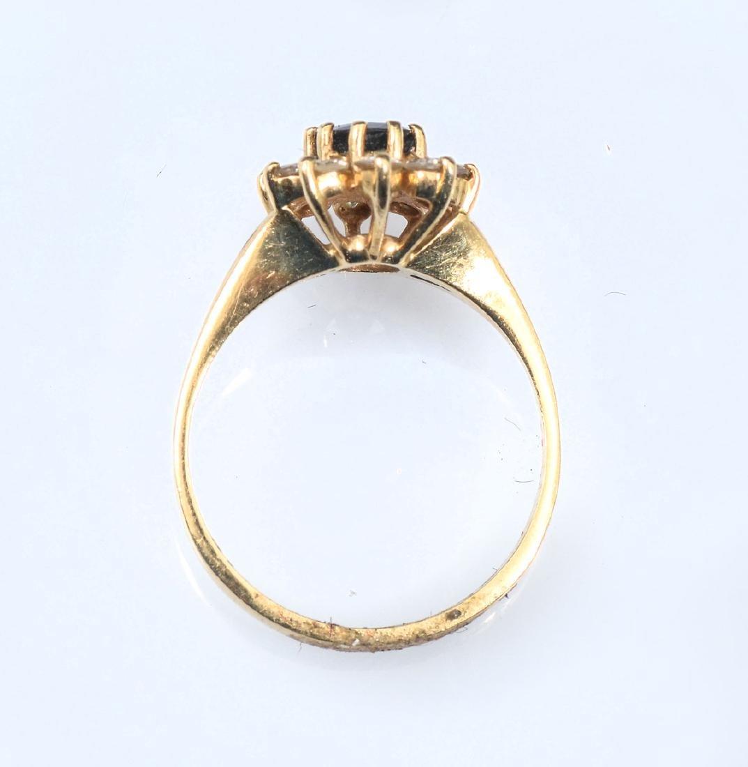 14K SAPPHIRE & DIAMOND RING - 4