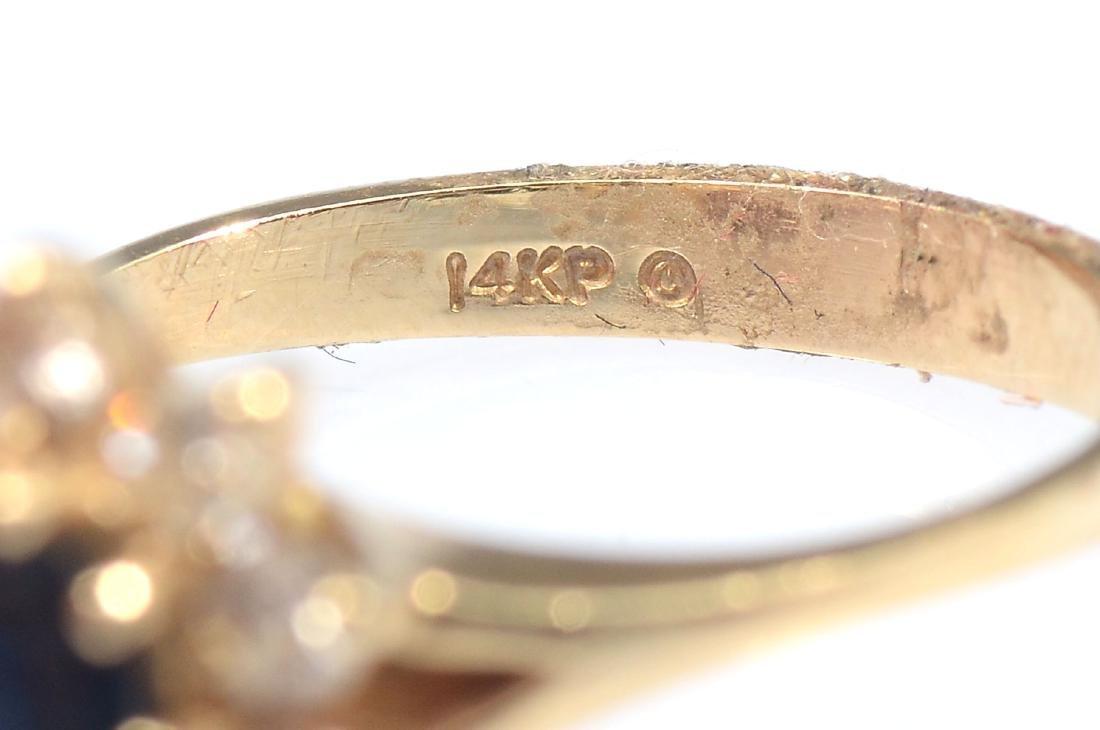 14K SAPPHIRE & DIAMOND RING - 5