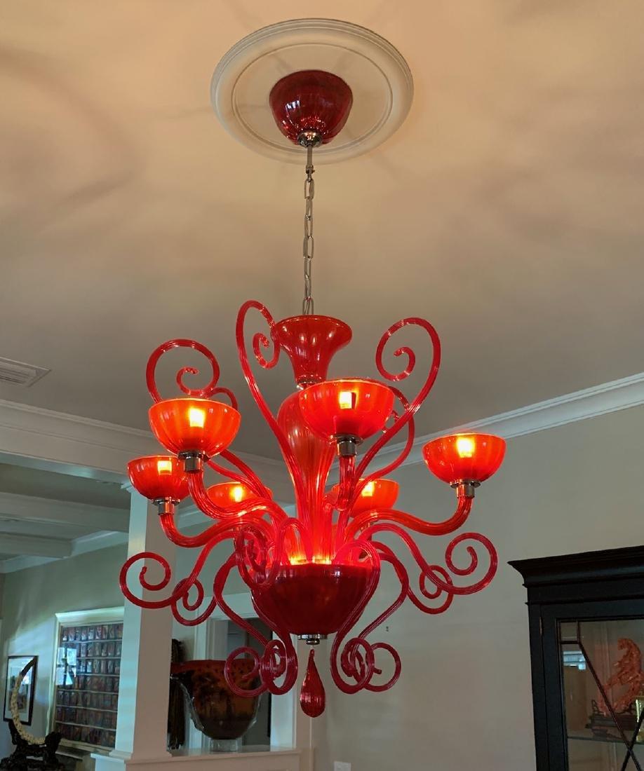 MURANO RUBY RED & AMBERINA GLASS CHANDELIER