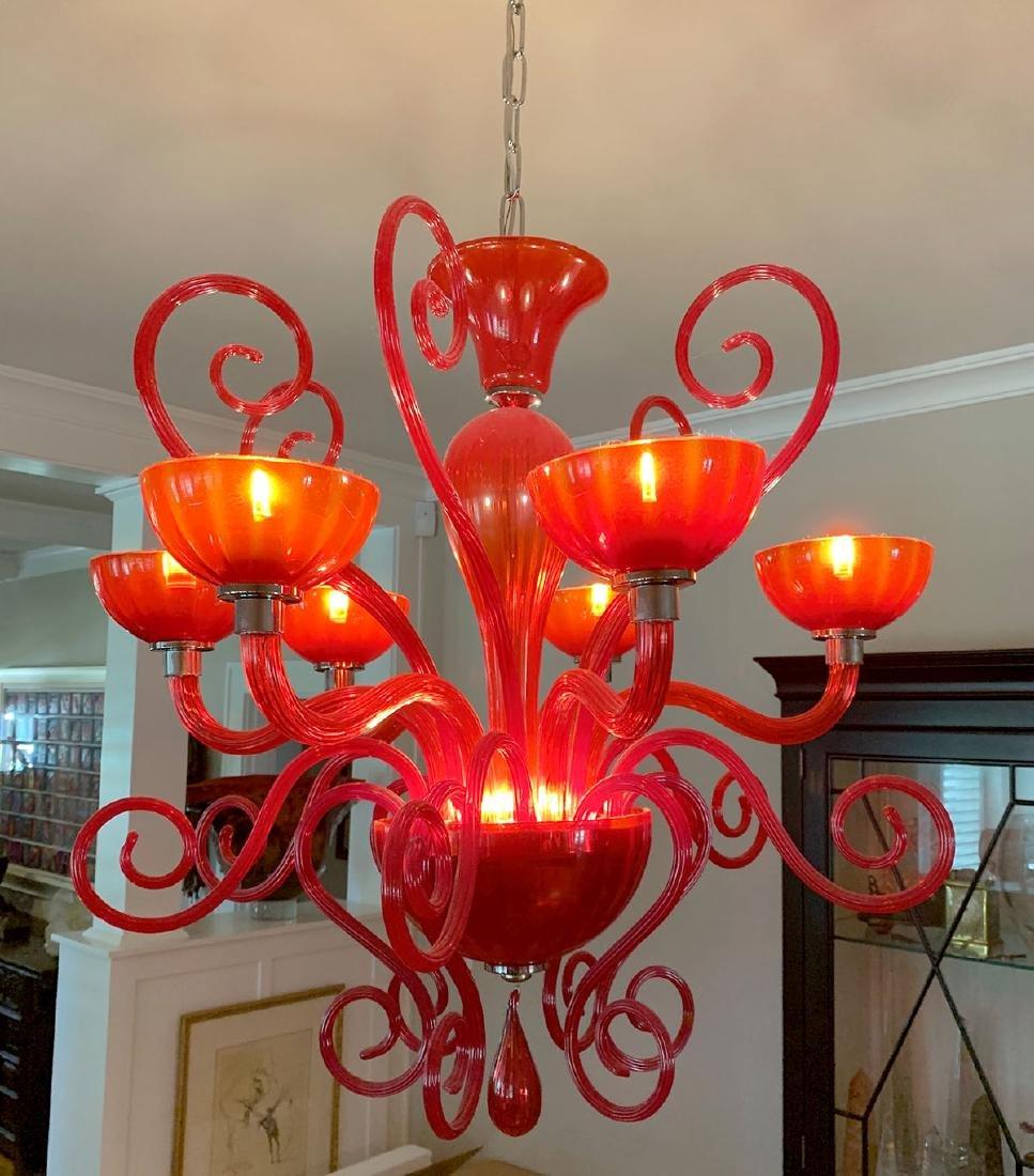 MURANO RUBY RED & AMBERINA GLASS CHANDELIER - 2