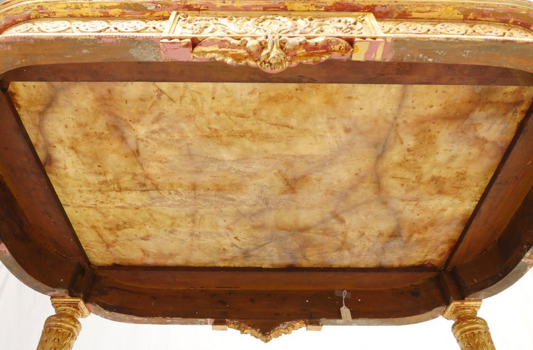 CARVED & GILT FRENCH MARBLE TOP CONSOLE TABLE - 6