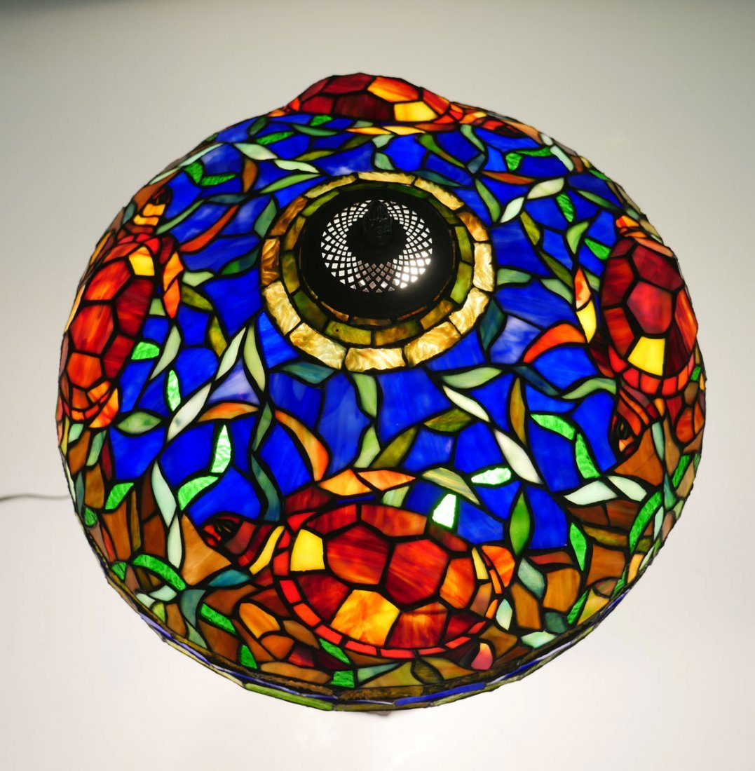 TIFFANY STYLE STAINED GLASS SEA TURTLE LAMP - 2