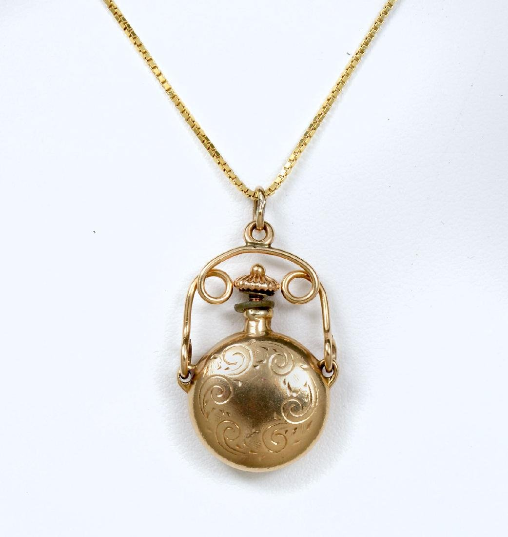 EDWARDIAN 14K SCENT BOTTLE PENDANT ON CHAIN