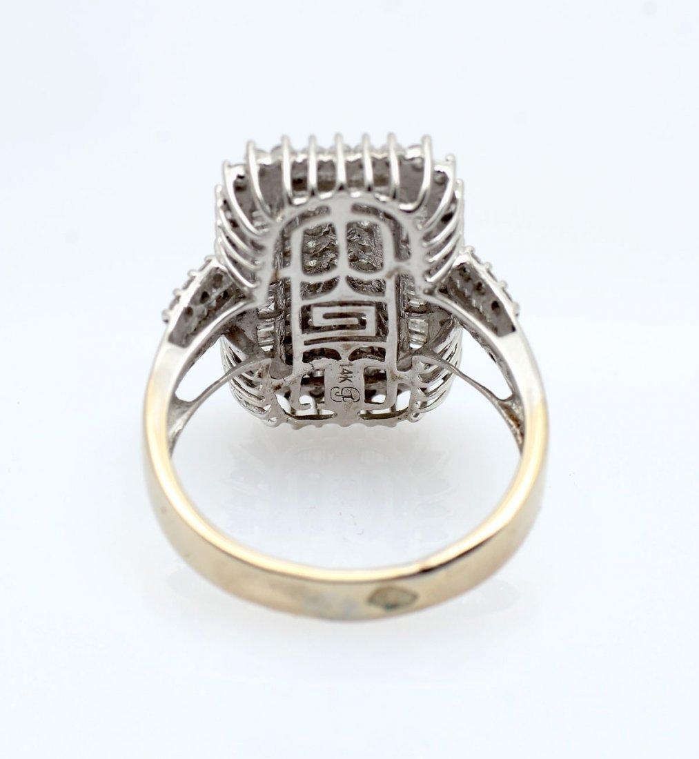 14K WHITE GOLD PAVE DIAMOND COCKTAIL RING - 3