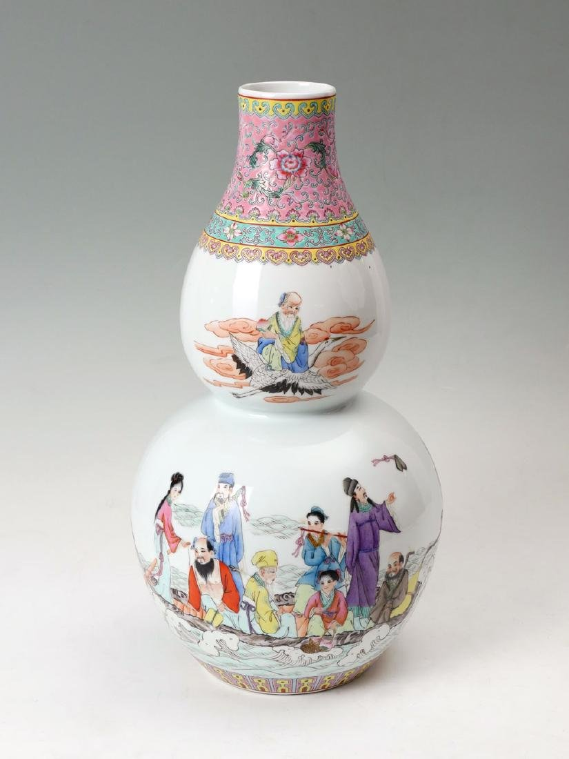CHINESE DOUBLE GOURD 8 IMMORTAL VASE