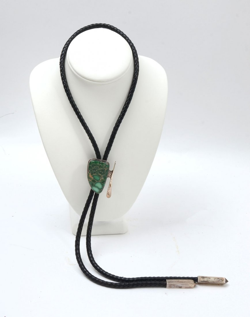 STERLING & TURQUOISE BOLO TIE SIGNED SAVANNAH MOON