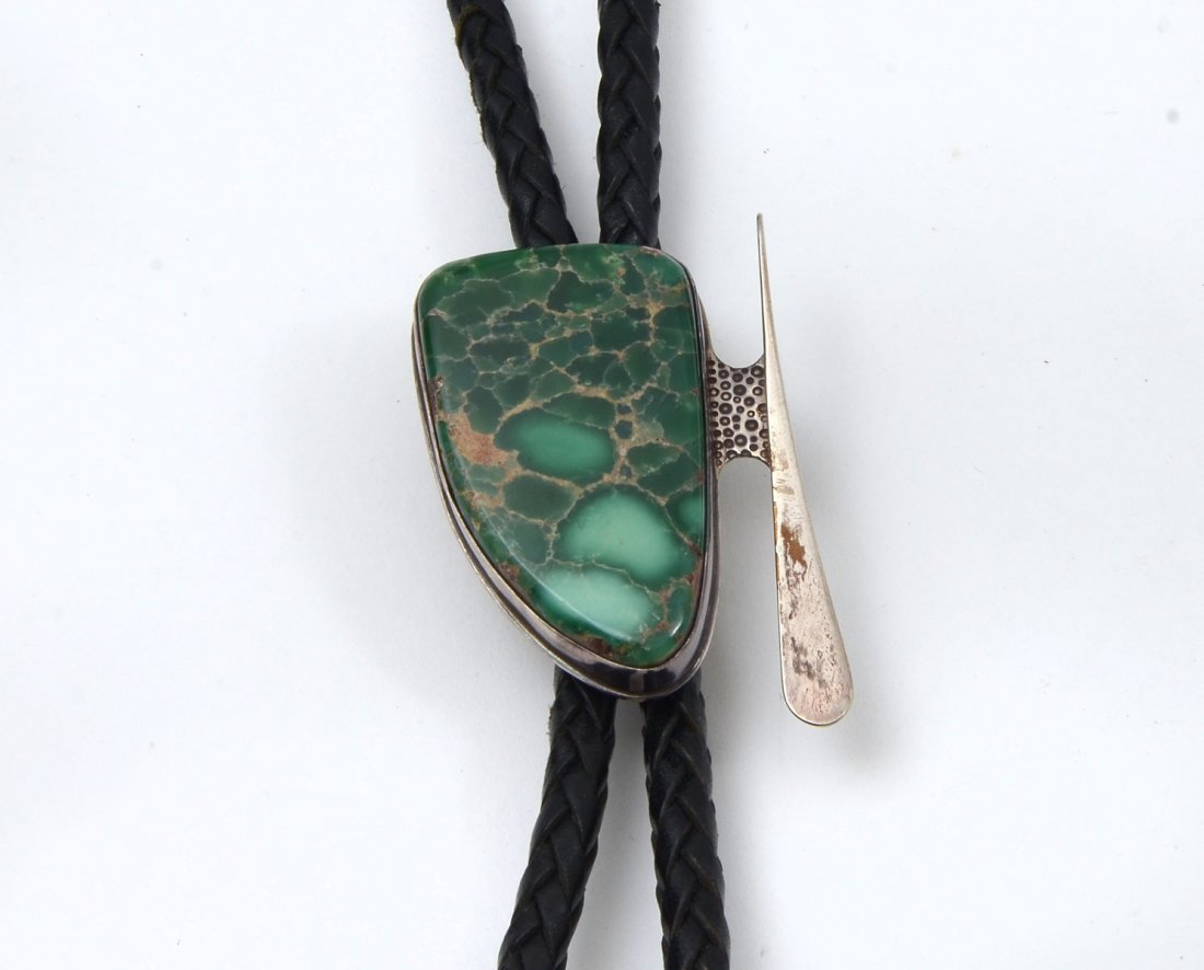 STERLING & TURQUOISE BOLO TIE SIGNED SAVANNAH MOON - 2