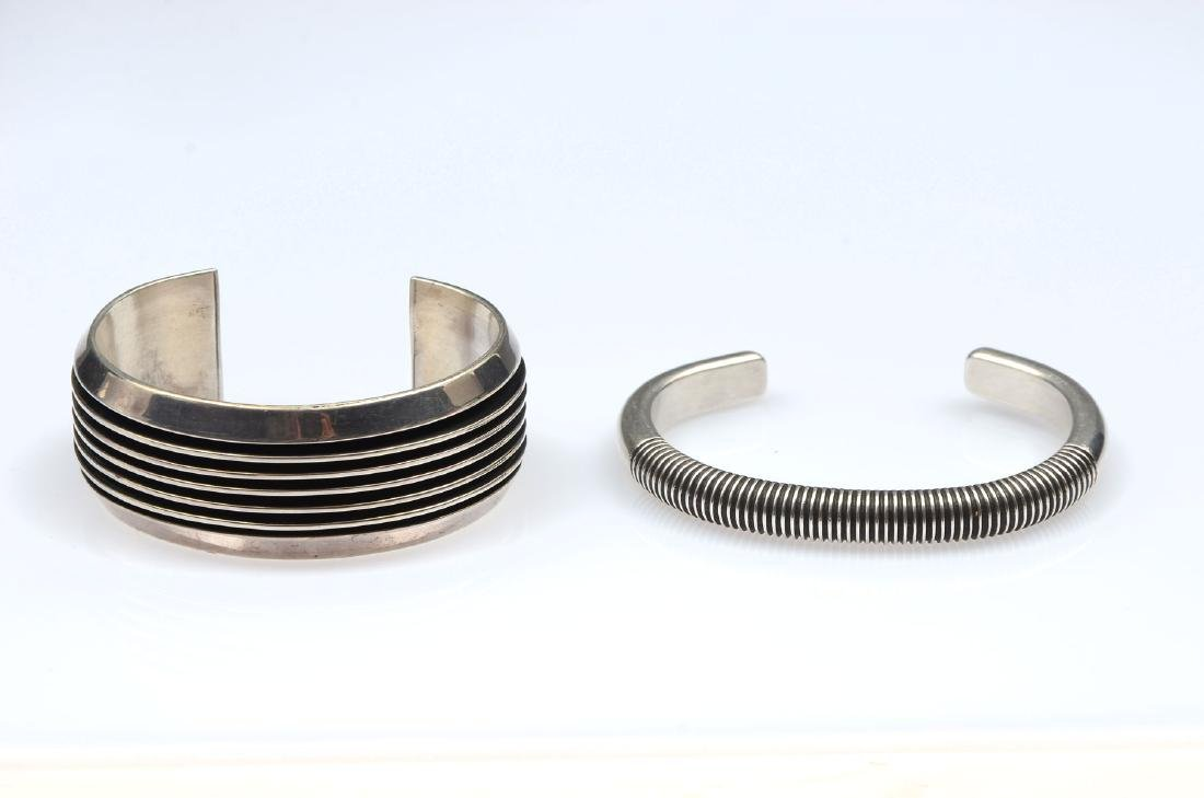 PAIR NATIVE AMERICAN SIGNED STERLING CUFF BRACELET
