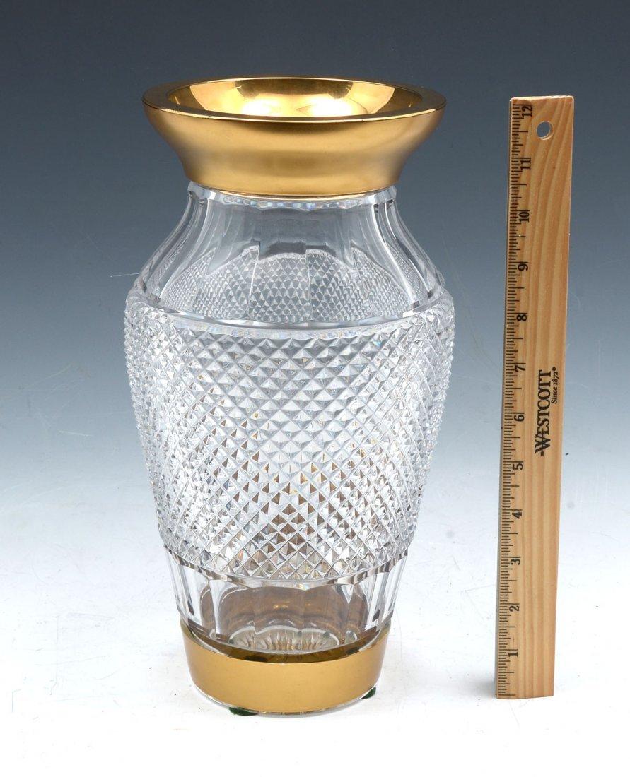 CRYSTAL DIAMOND CUT VASE WITH GOLD RIM - 4