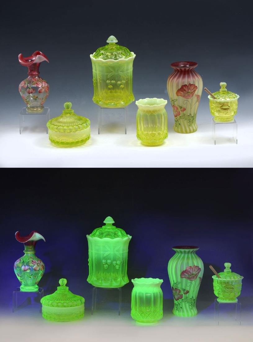 6 PIECE VASELINE GLASS COLLECTION