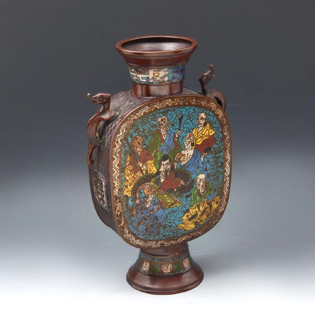 LATE 19TH/EARLY 20TH C. JAPANESE CHAMPLEVE VASE