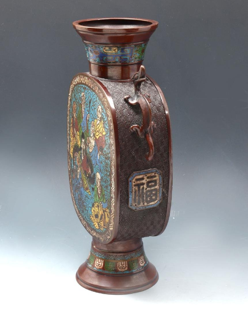 LATE 19TH/EARLY 20TH C. JAPANESE CHAMPLEVE VASE - 3