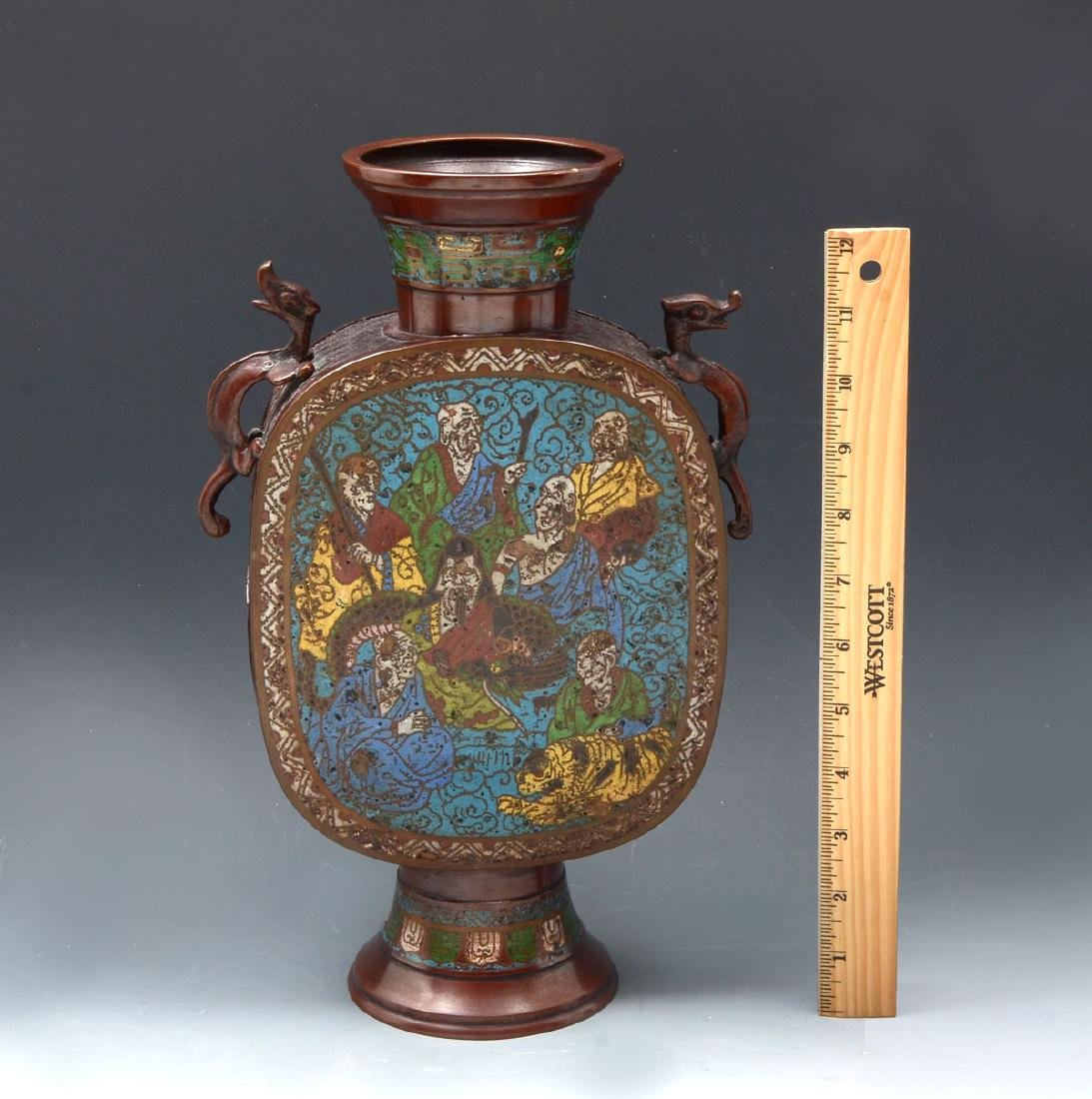 LATE 19TH/EARLY 20TH C. JAPANESE CHAMPLEVE VASE - 5