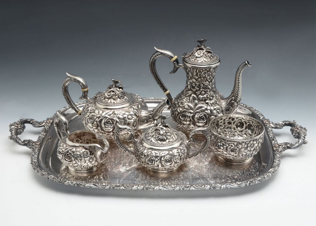KIRK STIEFF REPOUSSE HAND CHASED STERLING TEA SET