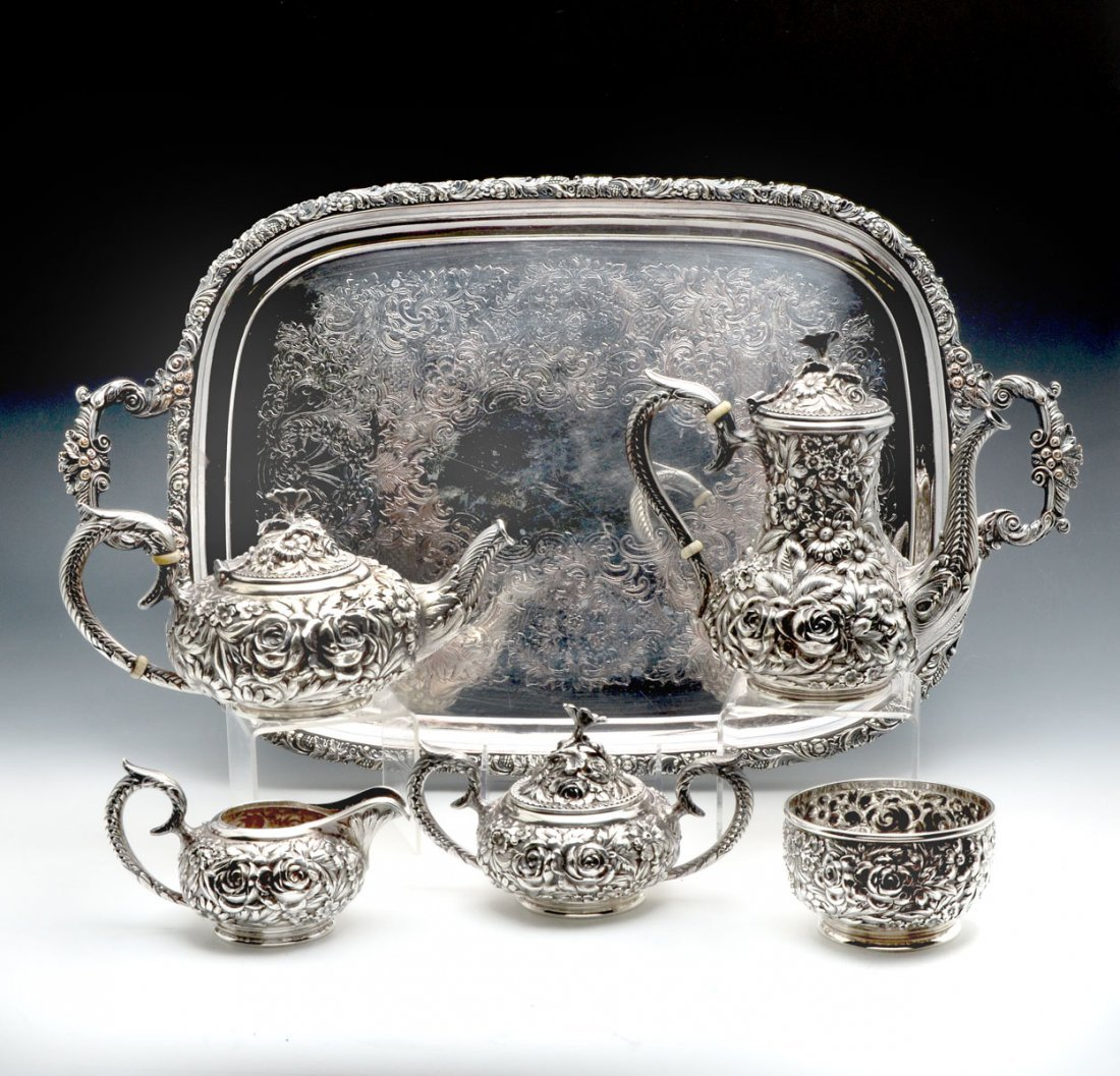 KIRK STIEFF REPOUSSE HAND CHASED STERLING TEA SET - 2