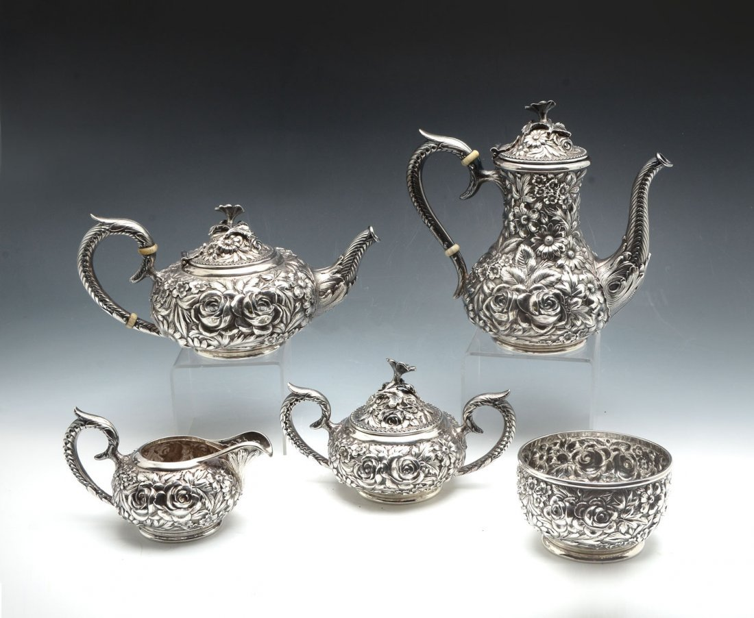 KIRK STIEFF REPOUSSE HAND CHASED STERLING TEA SET - 3