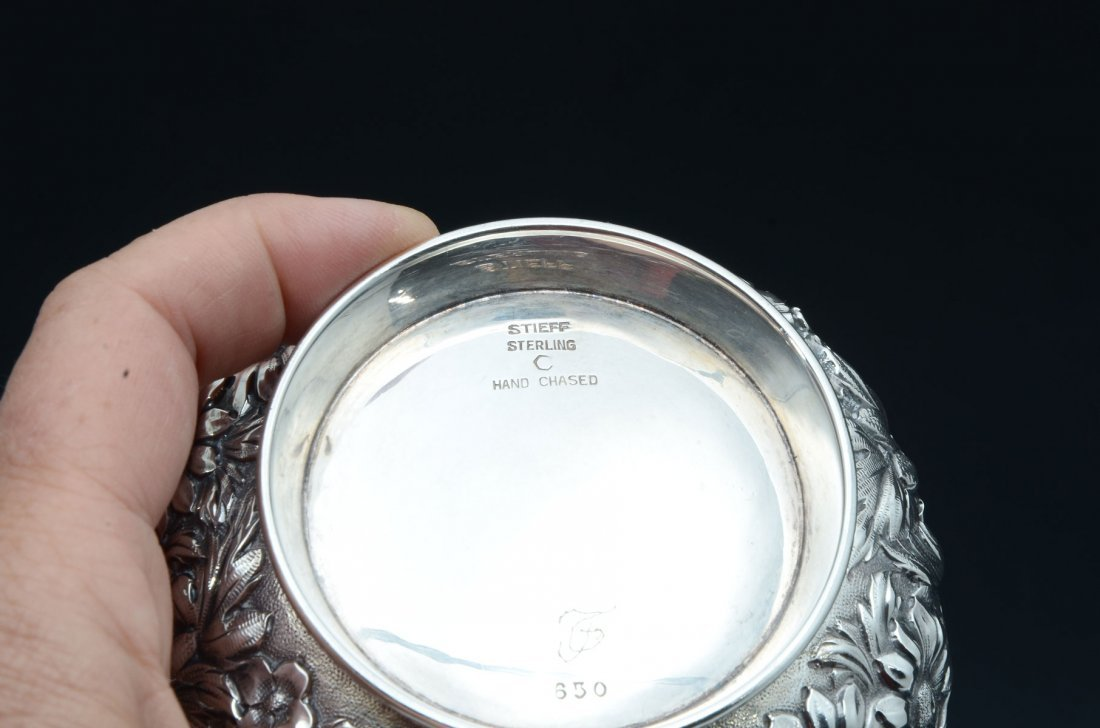 KIRK STIEFF REPOUSSE HAND CHASED STERLING TEA SET - 4