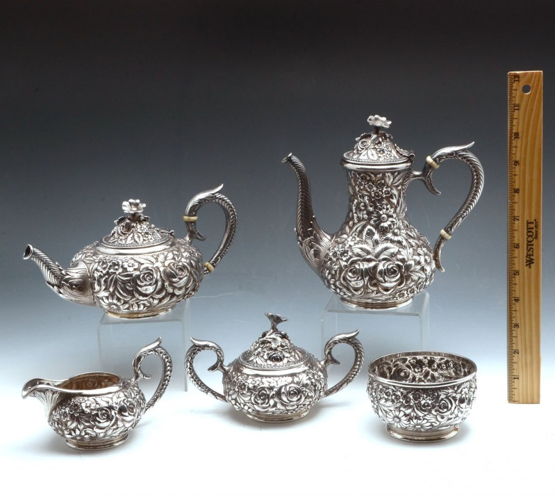KIRK STIEFF REPOUSSE HAND CHASED STERLING TEA SET - 5
