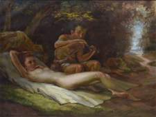 FRITZ SCHLUCKMULLER PAN AND NYMPH PAINTING