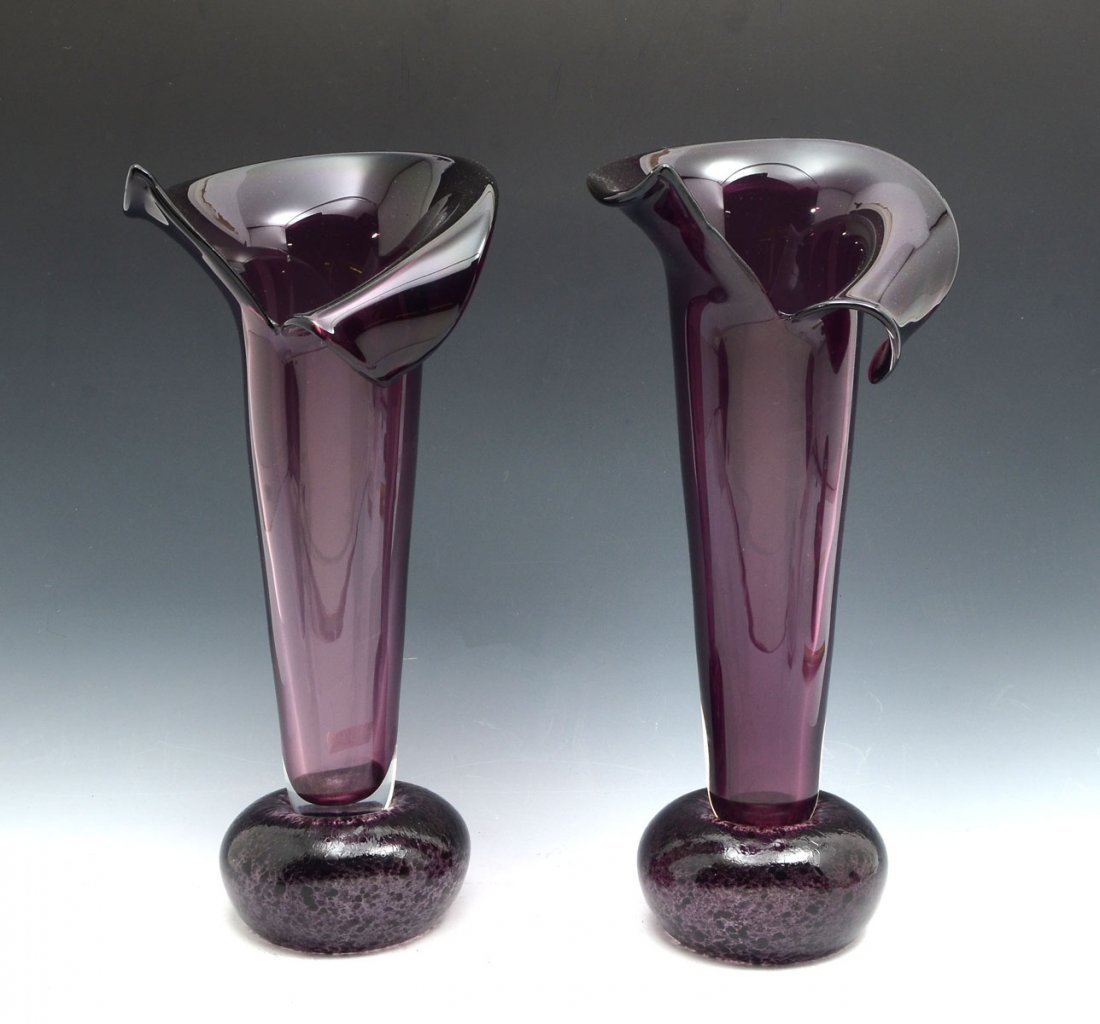 PAIR OF MURANO GLASS FLARED VASES