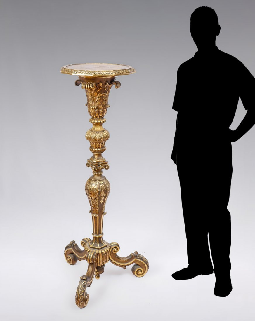CARVED GILT WOOD CANDLESTAND