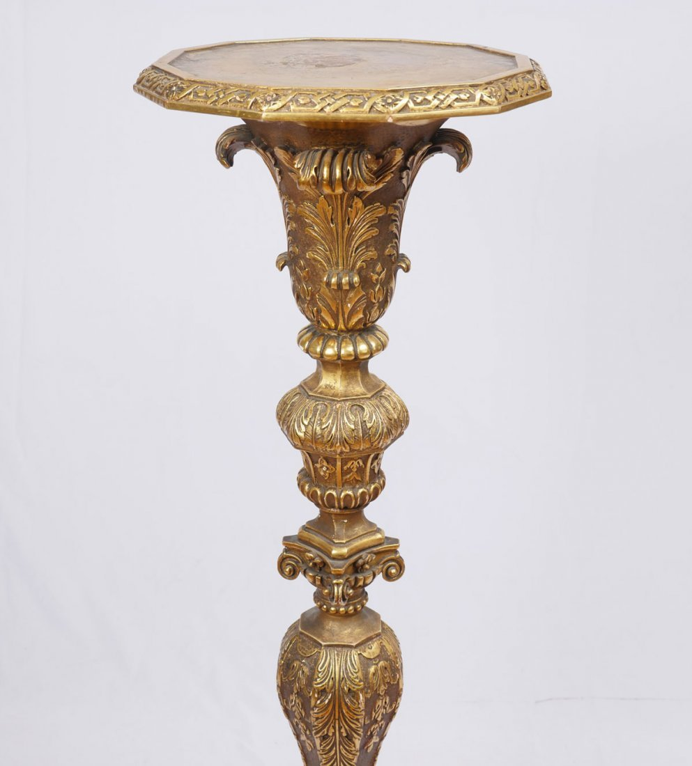 CARVED GILT WOOD CANDLESTAND - 2