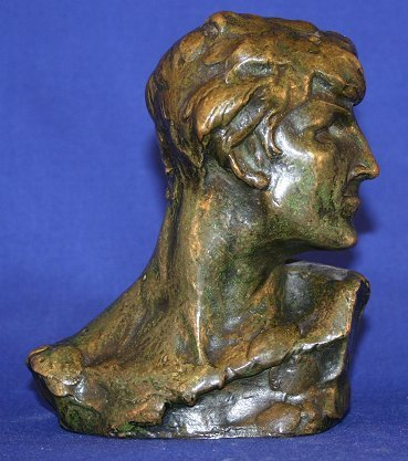 4: ILLEGIBLY SIGNED BRONZE BUST OF A MAN