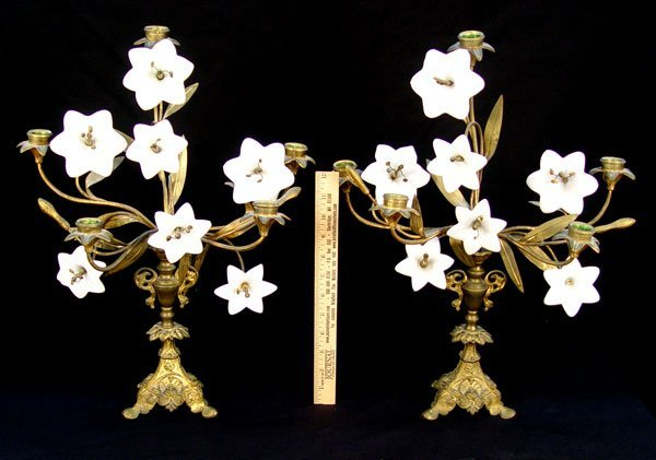 6: PAIR GILT METAL & OPAQUE GLASS CANDLE HOLDERS