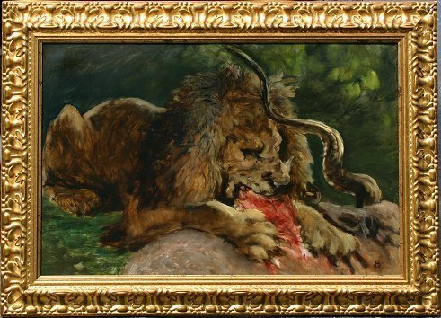 22: LION FEASTING ON SPRINGBOK PAINTING 19TH c?