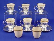 302: 6 TIFFANY STERLING & LENOX DEMITASSE CUPS
