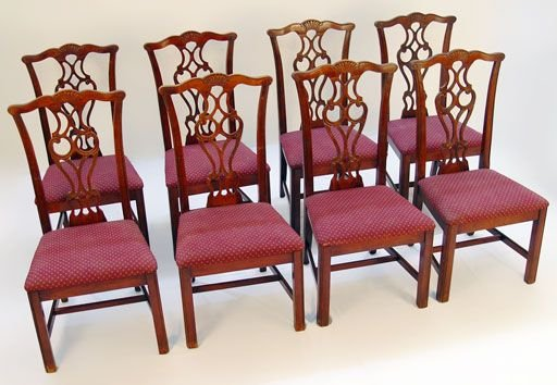 18A: SET OF 8 CHIPPENDALE STYLE DINING SIDE CHAIRS
