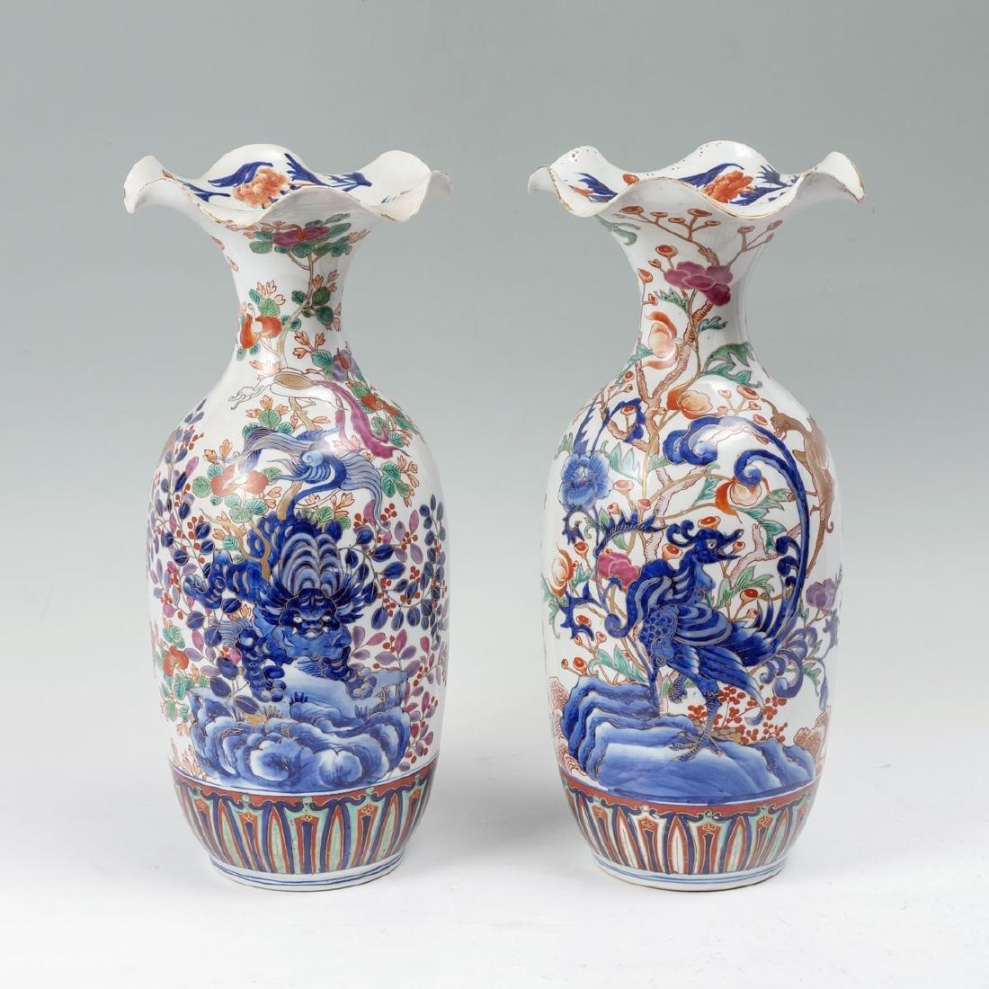 2 JAPANESE MEIJI PERIOD SCALLOPED RIM VASES