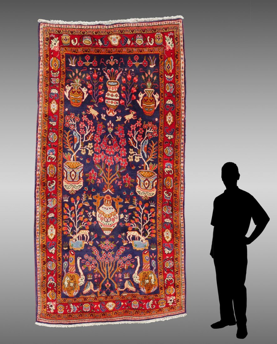 VILLAGE OR TRIBAL PERSIAN HAND KNOTTED WOOL RUG, 5'X9'