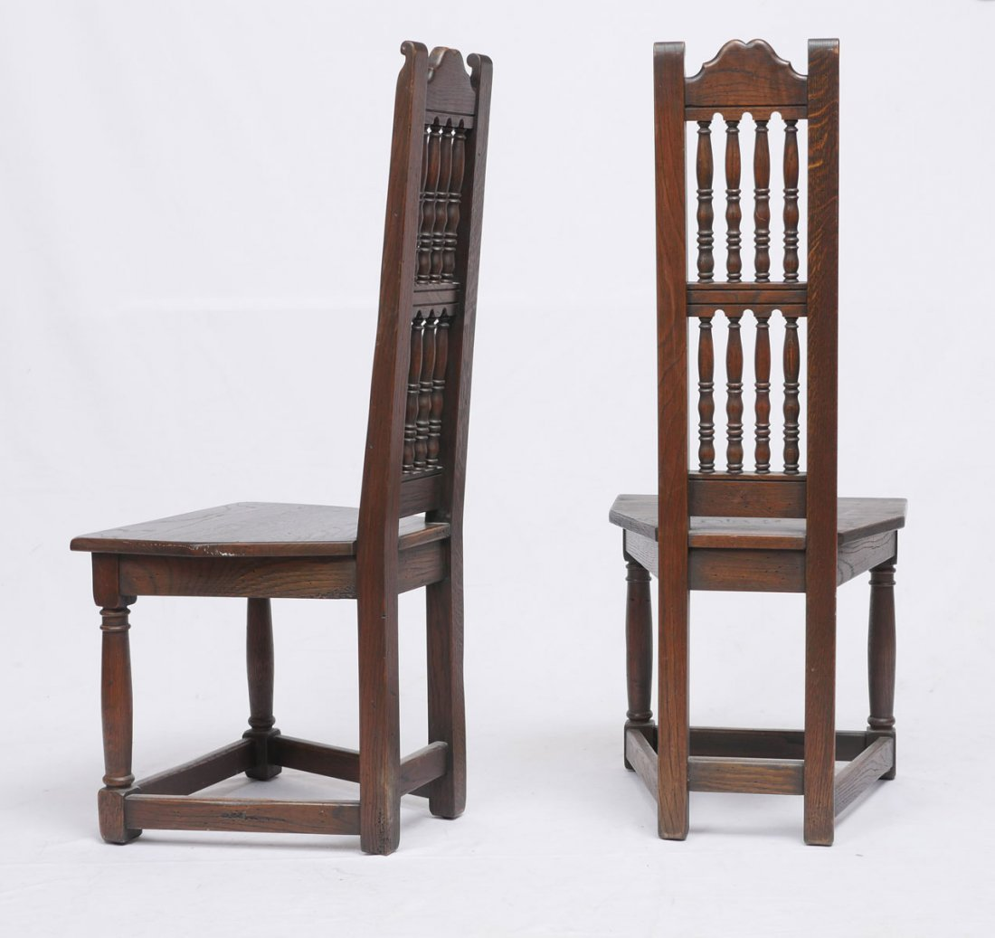 PAIR OF OAK ARTS AND CRAFTS SIDE CHAIRS - 2