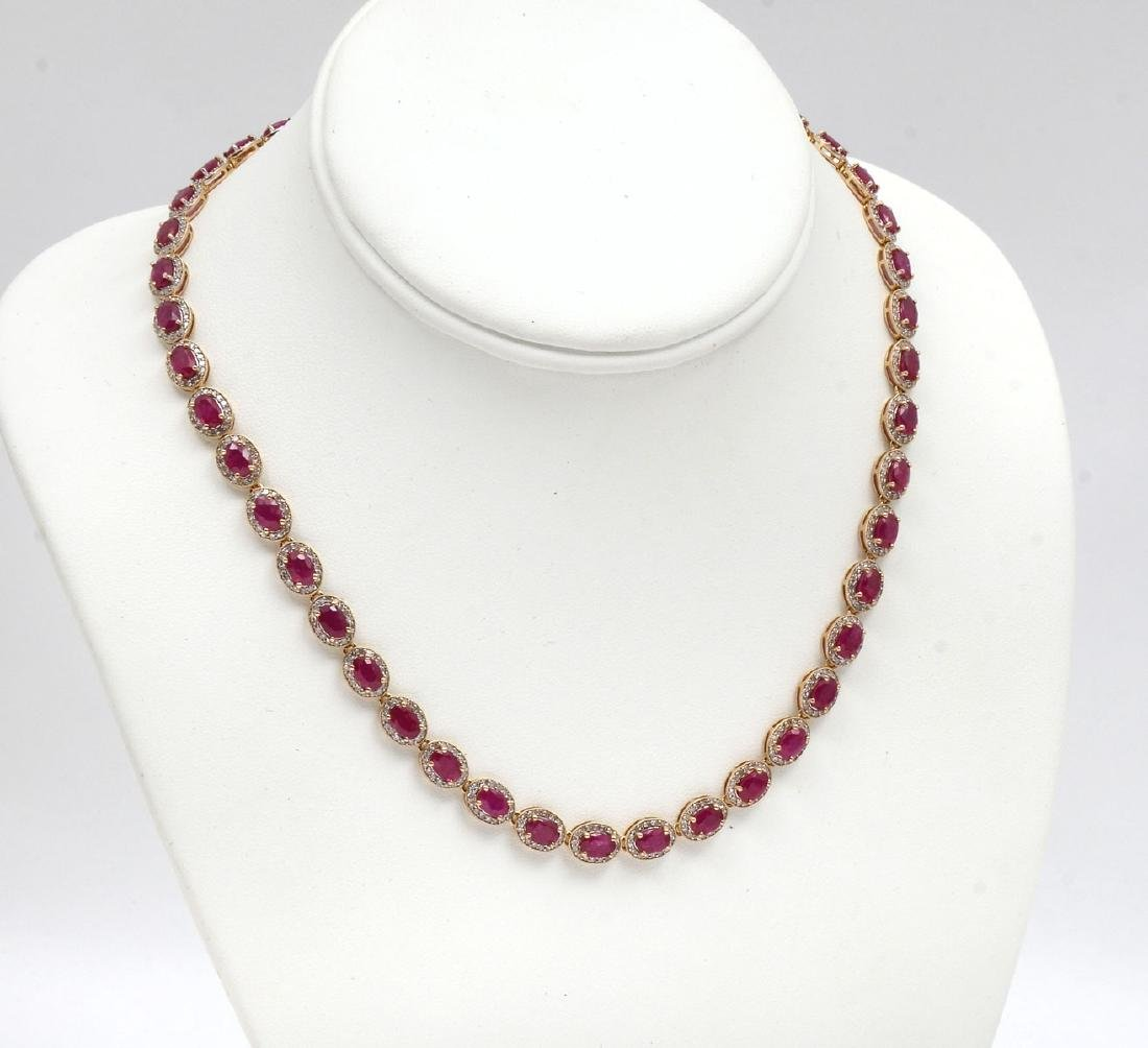 24.87 CTW RUBY NECKLACE IN 14K