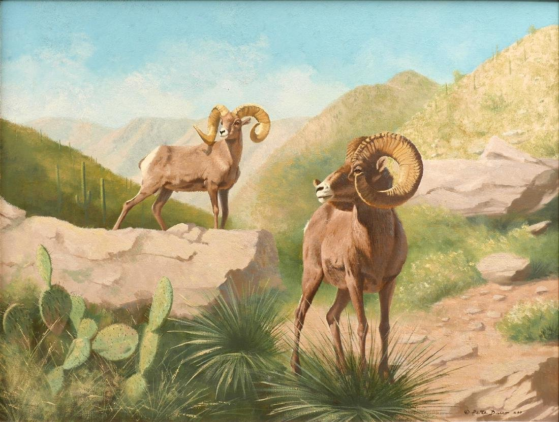 LARGE PETER DARRO PAINTING OF MOUNTAIN GOATS