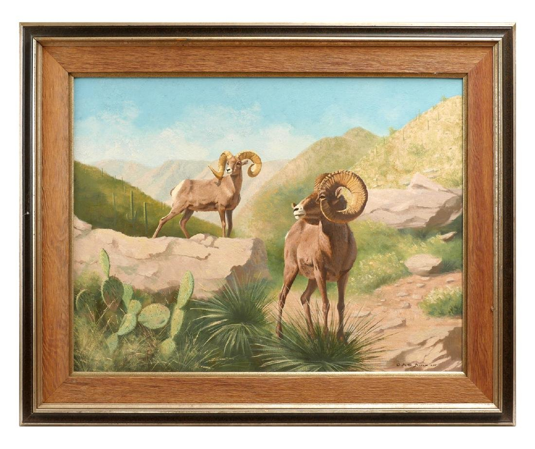 LARGE PETER DARRO PAINTING OF MOUNTAIN GOATS - 2