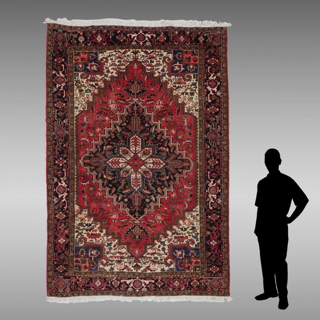 "PERSIAN HERIZ HAND KNOTTED WOOL RUG, 6'11"" X 9'11"""