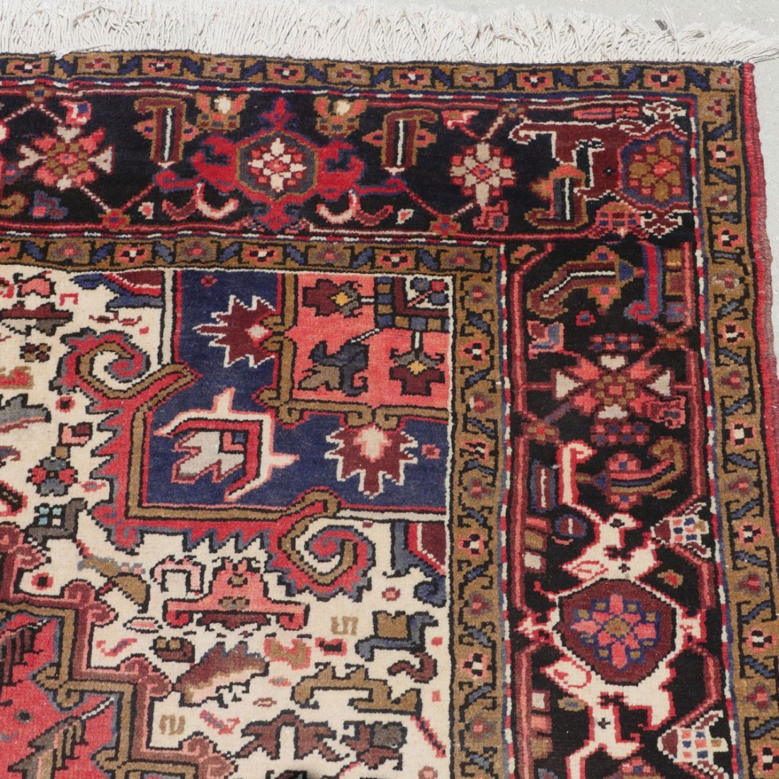 "PERSIAN HERIZ HAND KNOTTED WOOL RUG, 6'11"" X 9'11"" - 3"