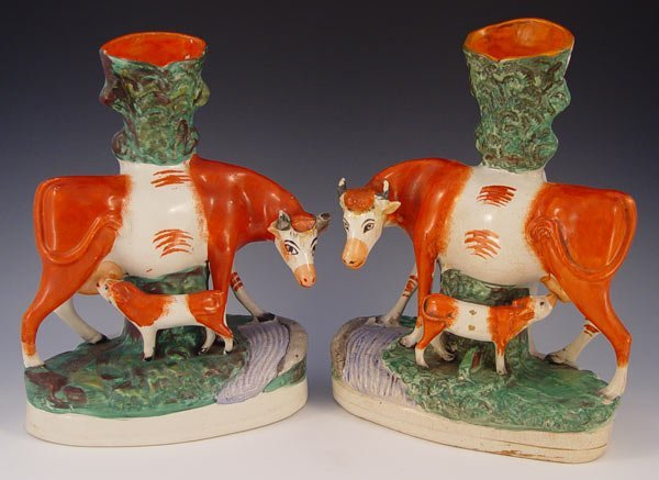 1001: PAIR 19TH C STAFFORDSHIRE COW AND CALF SPILL VASE