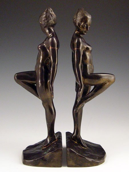 1019: PAIR  RONSON ART DECO NUDE FIGURAL BOOKENDS
