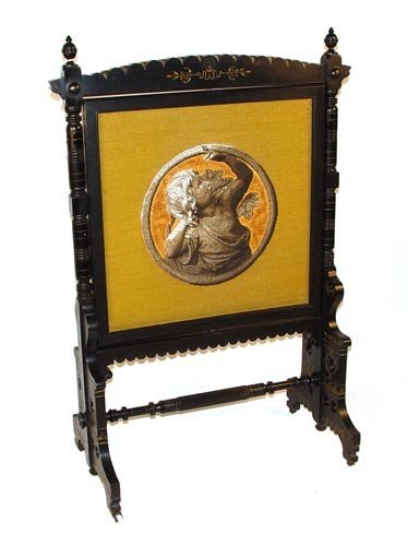 1003: VICTORIAN BEAD AND NEEDLEPOINT FIRESCREEN
