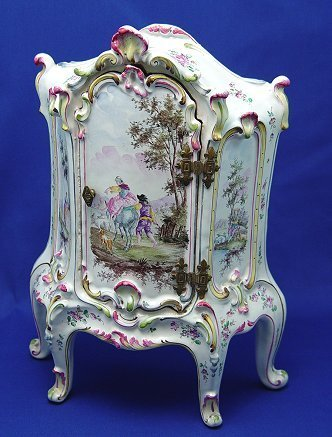 1: 19th C FRENCH FAIENCE MINIATURE CABINET ARMOIRE