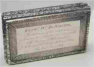 ENGLISH SILVER SEA CAPTAIN'S BOX DATED 1839