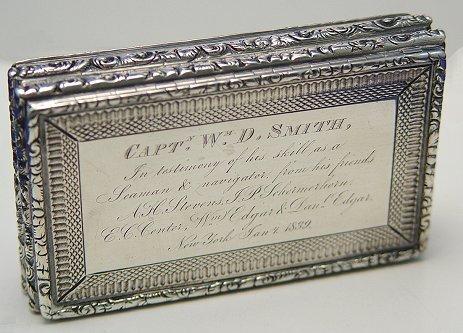 4: ENGLISH SILVER SEA CAPTAIN'S BOX DATED 1839