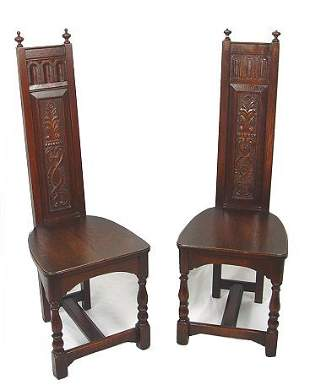 PAIR OF JACOBEAN REVIVAL CARVED OAK SIDE CHAIRS