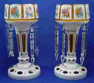 PAIR OF BOHEMIAN GLASS HAND PAINTED LUSTERS