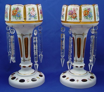 10: PAIR OF BOHEMIAN GLASS HAND PAINTED LUSTERS