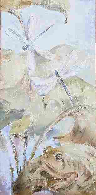 ARTS & CRAFTS DRAGON FLIES WATER LILLIES PAINTING